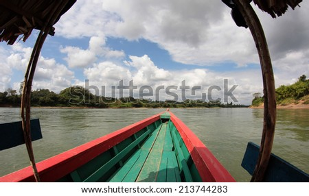 Cruising on the Usumacinta River, on the border beetween Mexico and Guatemala, near the Yaxchilan archeological site