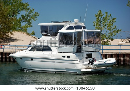cruising yacht in the channel - stock photo