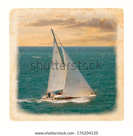 Cruising yacht - sea voyage at sunset. Nautical landscape with yacht in retro style. Maritime romantic trip on the sailing yacht. Holiday lifestyle - marine skyline with sailboat. - stock photo