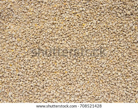 Crumble feed of chicken broiler as background, Top View.