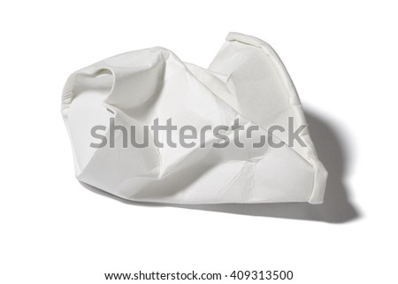 Crumble Paper Cup on White Background - stock photo