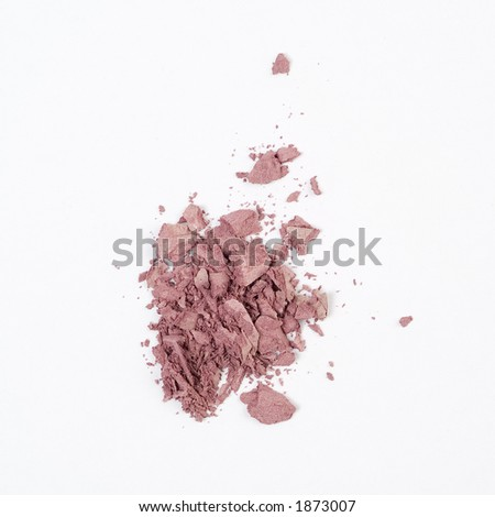 Crumbled blush on a white background - stock photo