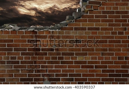 crumbling brick wall with stormy sky
