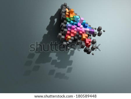 Crumbling cursor color pixel computer mouse. File contains a path to isolation. - stock photo