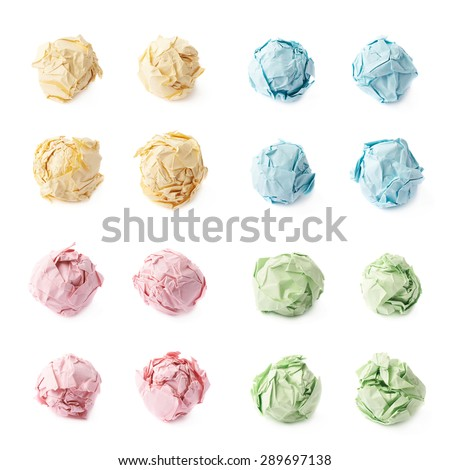 Crumple paper ball isolated over the white background, set of four colors, each in four foreshortenings - stock photo