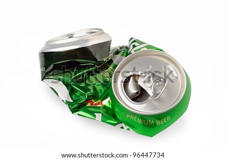Crumpled Aluminum can isolated on white background - stock photo