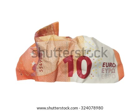 crumpled banknote 10 ten euros isolation on white - stock photo