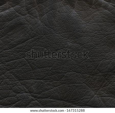 crumpled  black  leather texture  - stock photo
