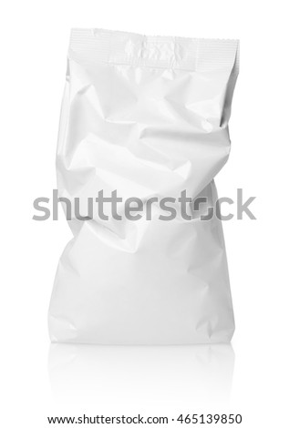 Crumpled blank paper bag package with creases isolated on white with clipping path