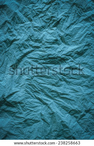 Crumpled blue color tissue paper