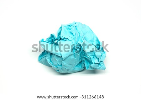 Crumpled blue paper ball isolated on a white background