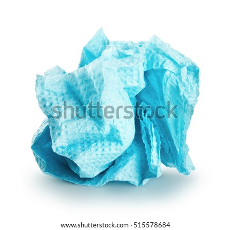 crumpled blue paper napkin on a white background. Clipping Path