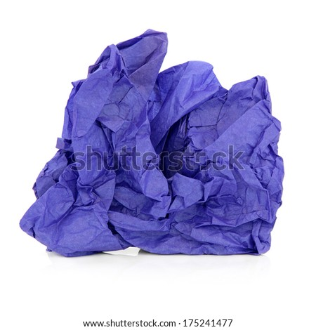 Crumpled blue tissue paper over white background.