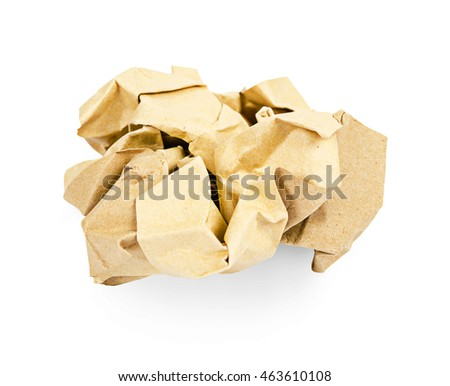 Crumpled brown paper isolated over white background, Saved clipping path.