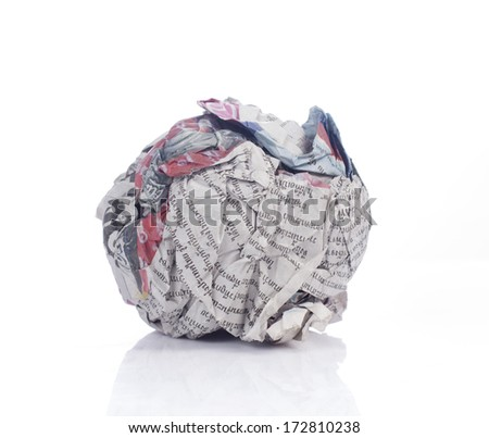 Crumpled brown paper news isolated on white background - stock photo