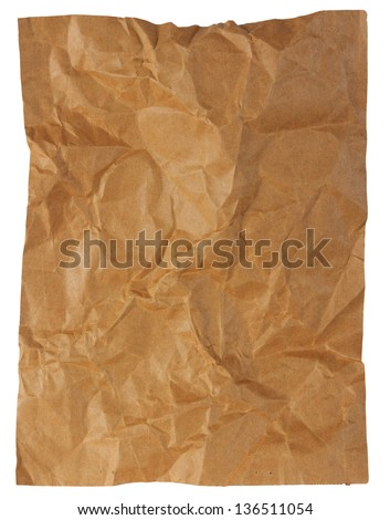 Crumpled  brown paper paper sheet isolated on white background - stock photo