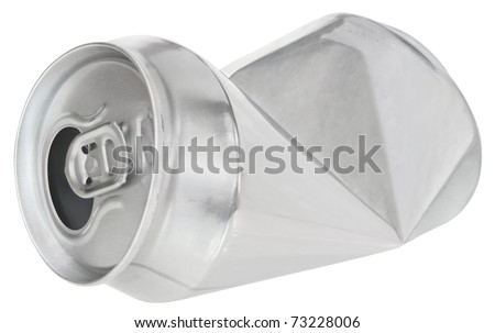 Crumpled can on white background - stock photo