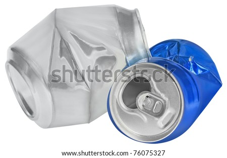 Crumpled can on white background