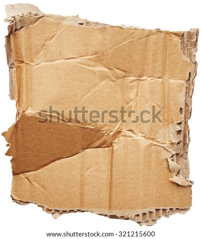 Crumpled cardboard isolated on white background