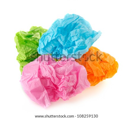 Crumpled colorful paper - stock photo