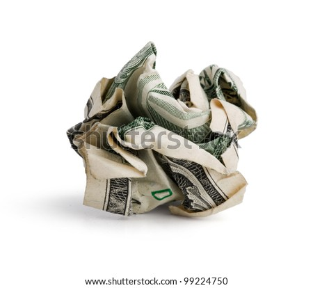 Crumpled dollar bill on a white background - stock photo