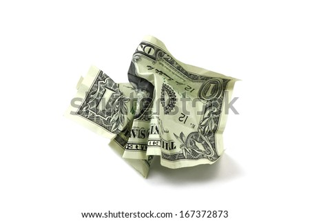Crumpled dollar bills isolated on white background