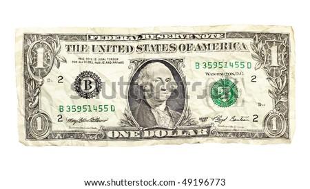 Crumpled dollar isolated - stock photo