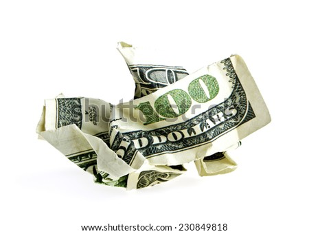 Crumpled dollar on a white background