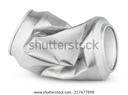 Crumpled empty blank soda or beer can garbage isolated on white background with clipping path - stock photo