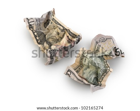 crumpled fifty dollar bill isolated, clipping path - stock photo
