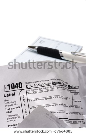 Crumpled form 1040 for filing tax returns in the U.S..