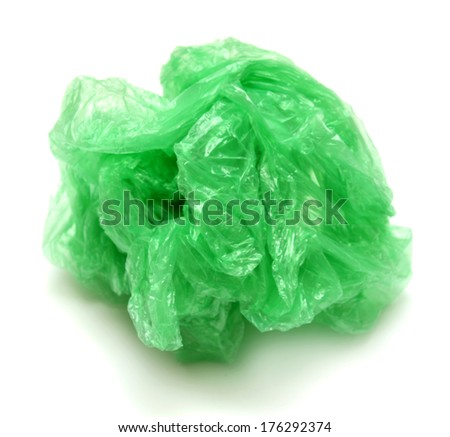 Crumpled garbage bag isolated on white background - stock photo
