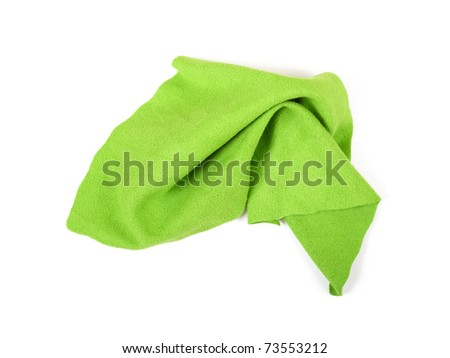Crumpled green microfiber cloth isolated on white background
