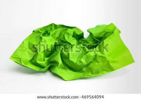 Crumpled green paper and texture
