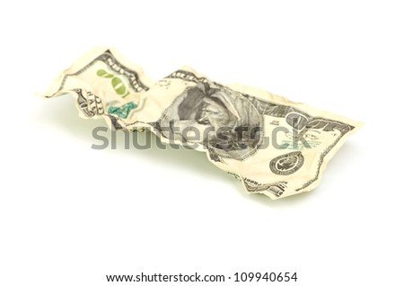 crumpled hundred dollar on a white background