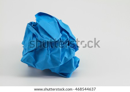 Crumpled light blue paper and texture