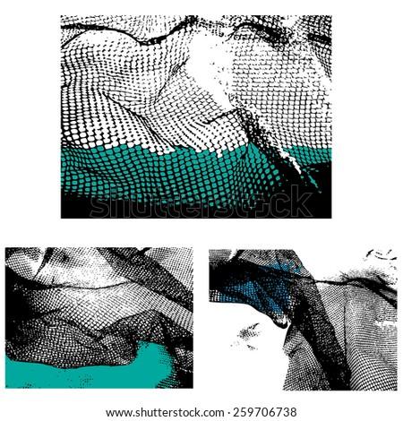 Crumpled mesh or netting design elements, JPEG version - stock photo