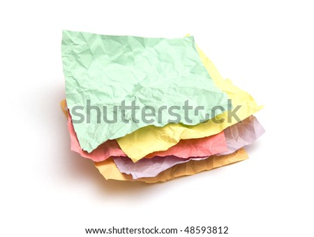 Crumpled note papers isolated on white background