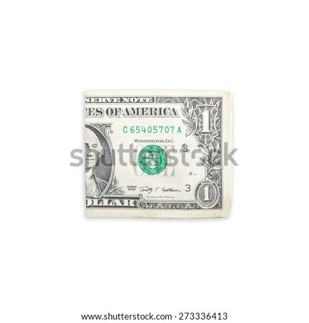 crumpled one dollar on a white background