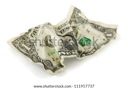 Crumpled one US dollar bill isolated on white