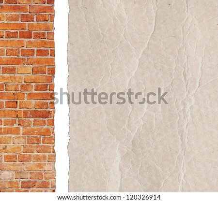 Crumpled paper background with red brick wall - stock photo