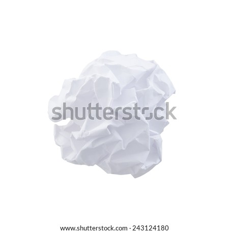 Crumpled Paper Ball , clipping path, isolated on white - stock photo