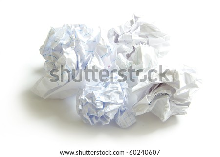 crumpled paper ball isolated on a white - stock photo