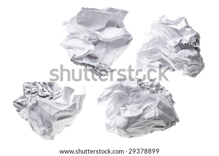 crumpled paper ball isolated on a white backgroun - stock photo