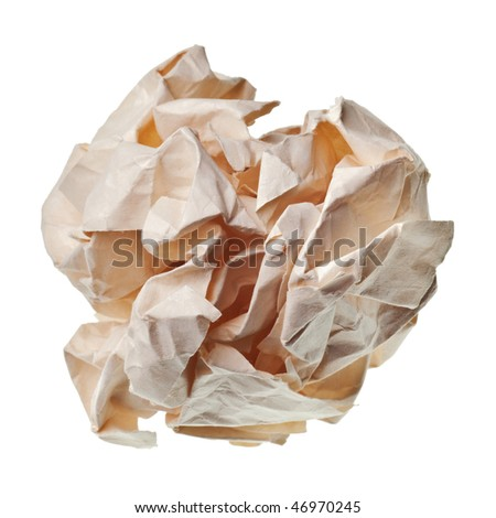 crumpled paper ball isolated on a white background - stock photo