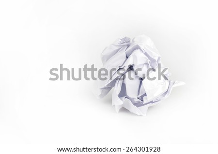 Crumpled Paper ball isolated on white background. - stock photo