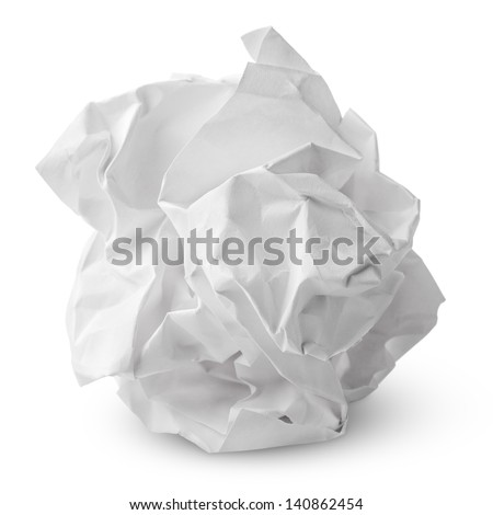 Crumpled paper ball isolated on white with clipping path - stock photo
