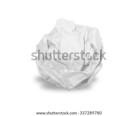 Crumpled paper ball isolated over white - stock photo