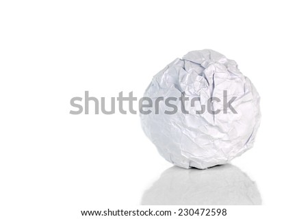 Crumpled paper ball on white - stock photo