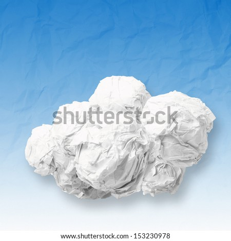 crumpled paper Cloud Computing diagram as concept - stock photo